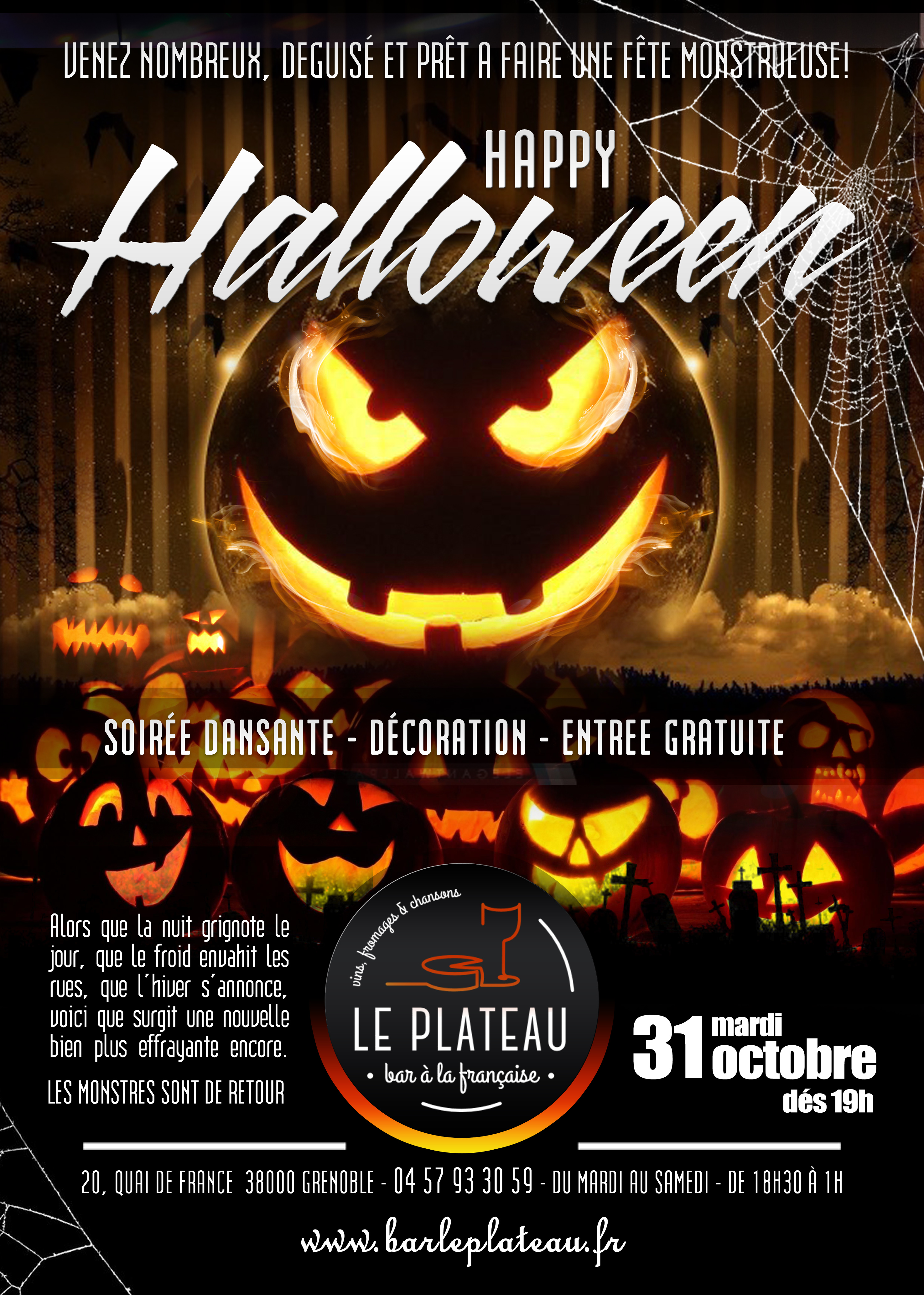 halloween 2017 le plateau bar fromages bar vin grenoble. Black Bedroom Furniture Sets. Home Design Ideas